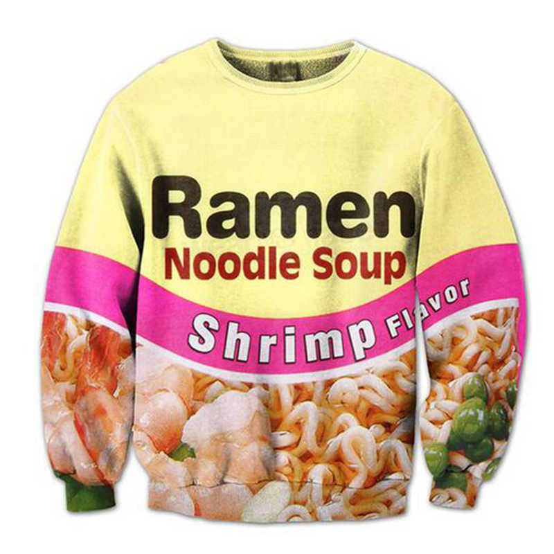 Новая мода пары мужчин женщин унисекс еда Лапша Рамен 3D печати толстовки кофты куртка пуловер Топы