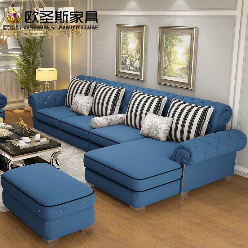 Luxury High Quality Europe Enviromental Material Crystal Button Stailess Steel Light Yellow Full Velvet Fabric Sofa Set 112F
