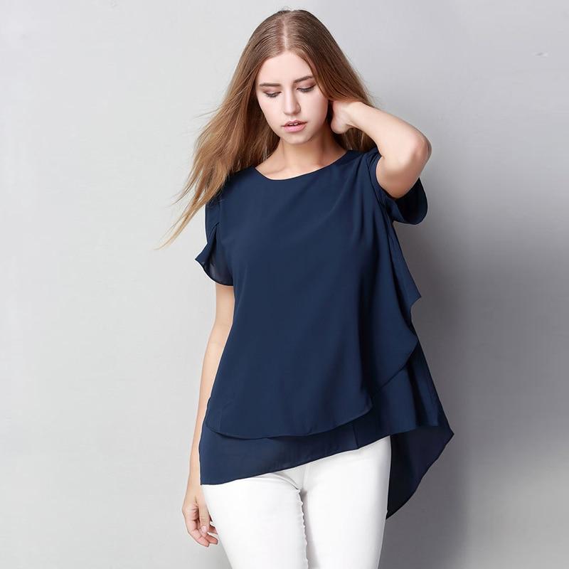 M L XL XXL 3XL 4XL 5XL Plus maat chiffon blouse 2018 Zomer O Hals - Dameskleding - Foto 2