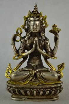 Exquisite Chinese Old Handwork Miao Silver Gilding Buddha Exorcism Auspicious Statue
