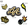 1 PCS Crown parches Embroidered Iron on Patches for Clothing DIY Stripes Clothes Custom Stickers Military Rank Badges @X