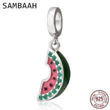 Sambaah Dangle Watermelon Charm Pendant with CZ Stone 925 Sterling Silver Beads fit Original Pandora Summer Bracelet SS3673