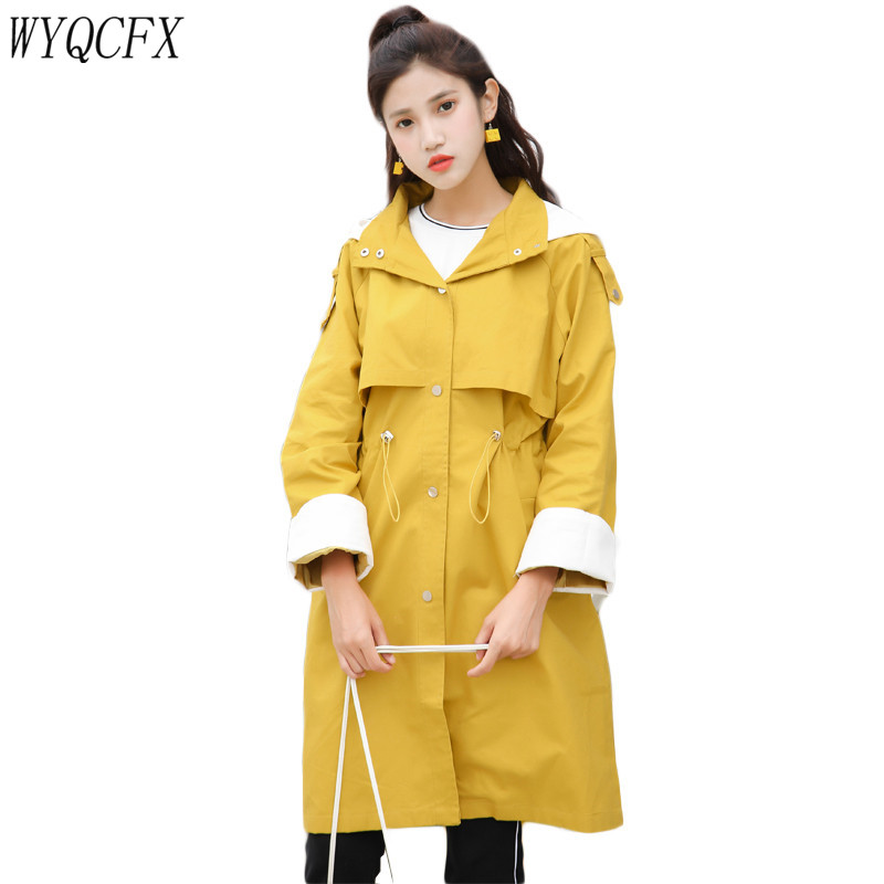 Spring Autumn Long   Trench   Coat Women Hooded Adjustable Waist Casual Windbreaker Female 2019 Fashion Loose Black Outerwear 3XL