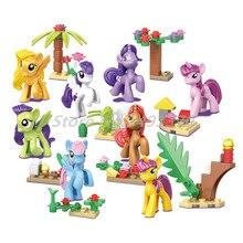8 pçs/lote Princesa Elsa Menina Blocos de Construção do Modelo My Little Horse Figura Unicorn SY682 Tijolos Brinquedos Educativos Para Crianças Presentes