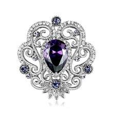 Красивые ювелирные изделия цветок брошь с фиолетовым кубическим цирконием и стразы кристаллы