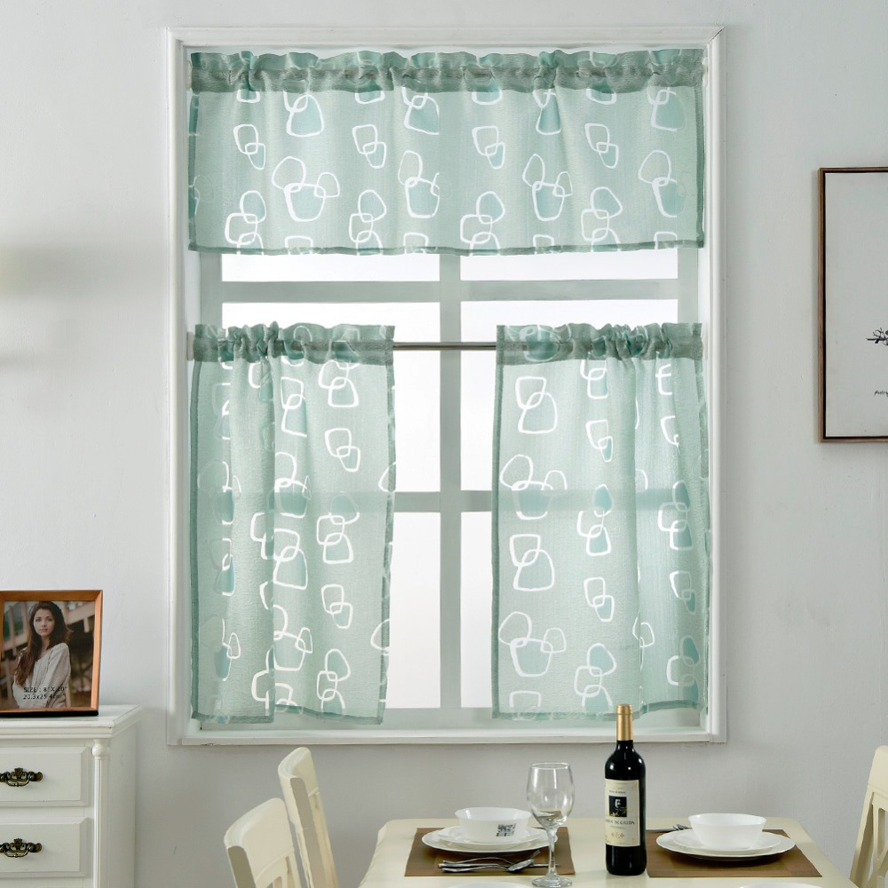Short kitchen curtains jacquard window treatments modern door ready ...