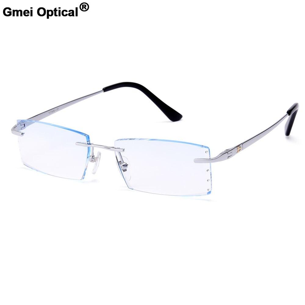 Gmei Optique Moderne Diamant Coupe De Coupe Sans Monture Lunettes Cadre  pour Hommes Lunettes Avec Aucun Dioptries Optique Lentilles Q18271 96f3e6575b39