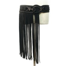 Женский Средневековый пояс и Американский панк стиль супер-длинная юбка с бахромой и пояс