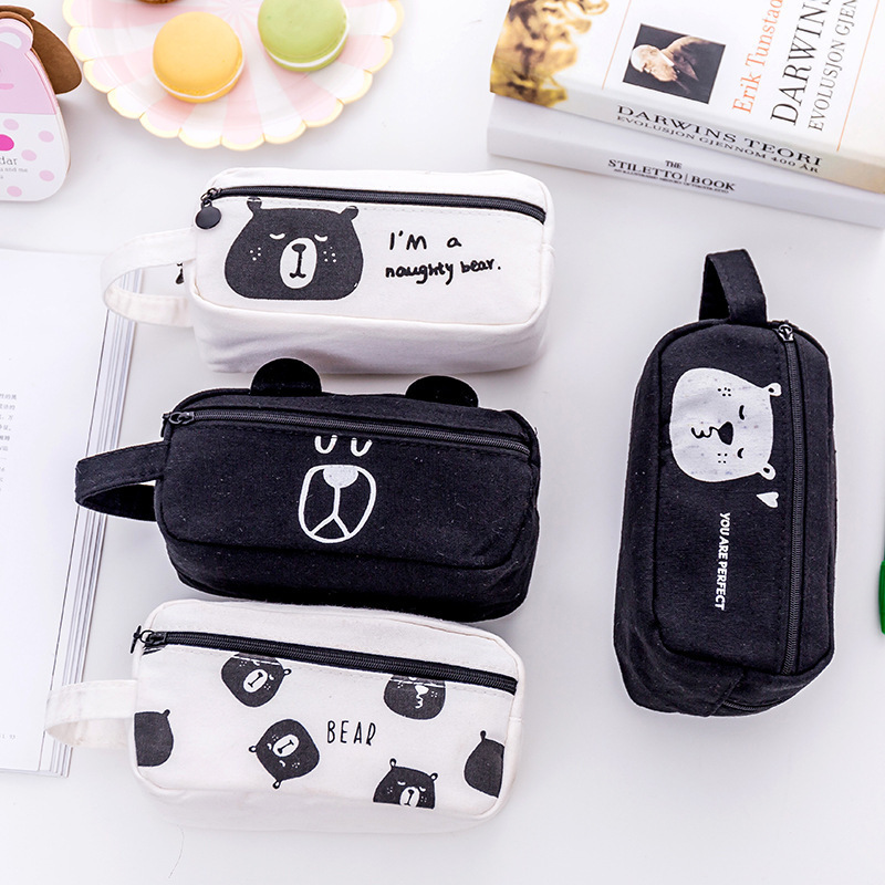 1 PC New Lovely Canvas Bear Large Capacity School Pencil Case Stationery For Kid Pen Bag Multifunctional Cosmetic Bag
