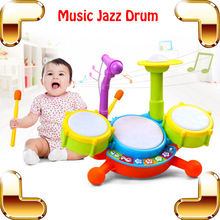 New Coming Gift Baby Jazz Drum Toy Musical Instrument Learning Education Toys Kids Microphone Children Plastic Drum Model Set