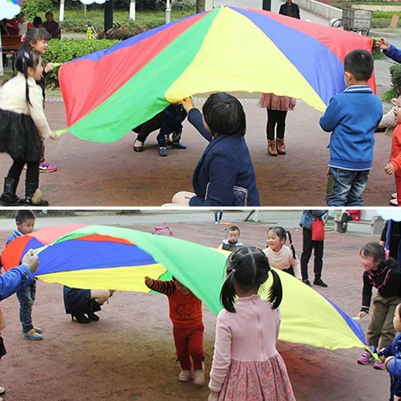 Enfants Sports en plein air arc-en-ciel parapluie, 16 pieds/5 mètres Parachute jouet Parents enfants Camping jouet interactif pour saut-sac jouer - 4