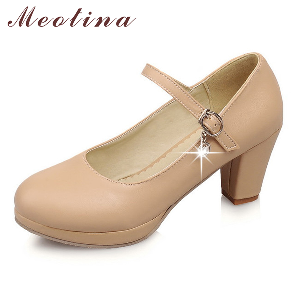 Meotina Women Shoes Size Big Size 40 Ladies Mary Jane Pumps Round Toe Platform Chunky High Heels Rhinestone Shoes Black White black ladies cool casual pumps wedge korean slip on high heels suede creepers big size 4 34 green platform shoes round toe