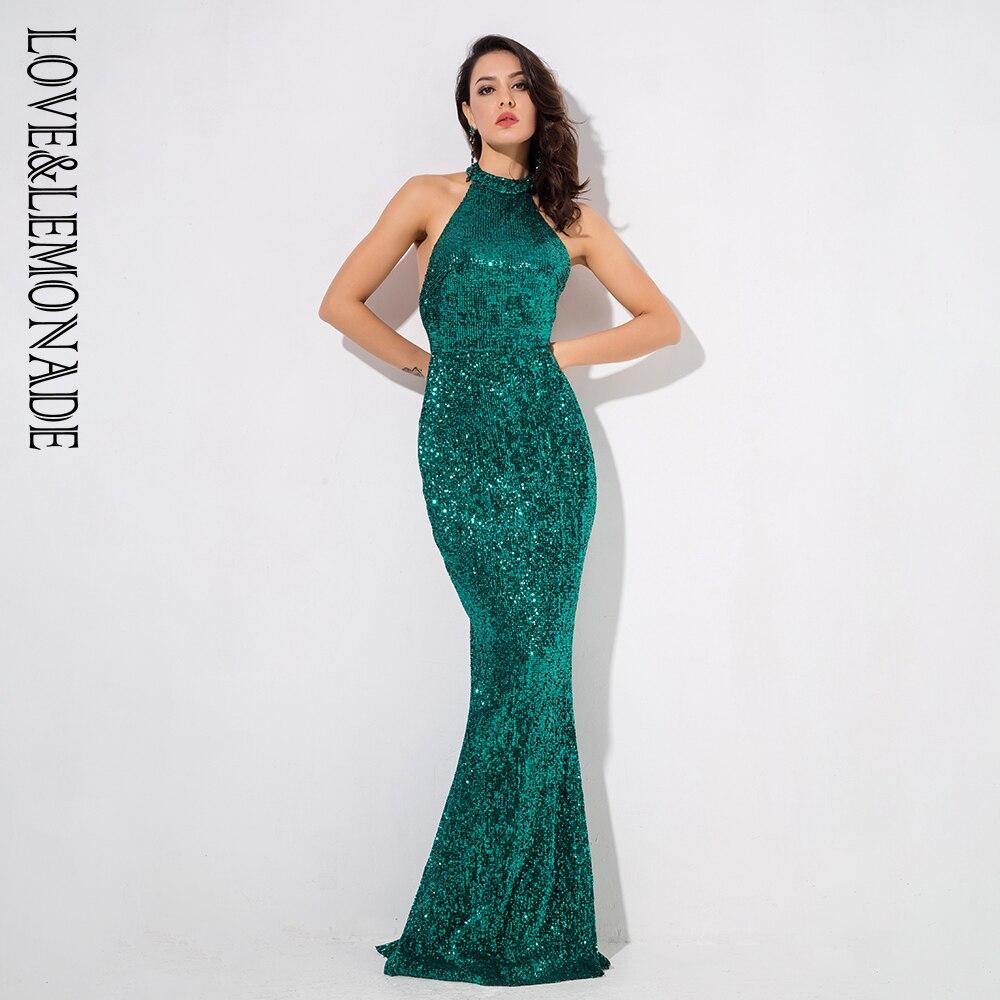 LOVE&LEMONADE  Green Strapless Slim Elastic Sequin Material Fishtail Shape Long Dress  LM80492