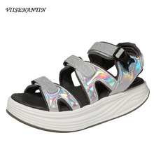VIISENANTIN Thick-bottomed Muffin Sandals Female 2019 New Summer Magic Stickers Black Gray Fairy Beach Shoes