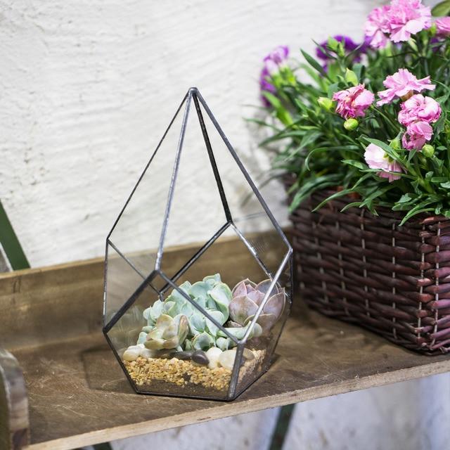 Ncyp Modern Handmade Glass Terrarium Planter Box Diy Geometric