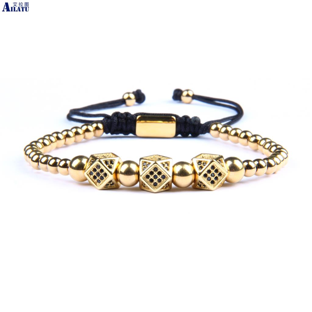 Ailatu New Luxury Irregular Geometric Faced CZ Rivet Braiding Bracelets With Stainless Steel Beads Top Quality