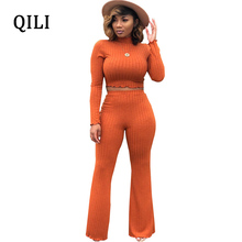 hot deal buy qili autumn women new hot jumpsuits long sleeve solid color 2 piece set casual jumpsuit elegant lady fashion jumpsuits s-xxl