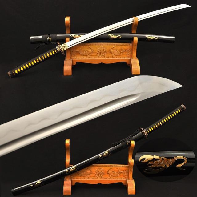 Handmade Japanese Samurai Katana Sword Clay Tempered Damascus Folded Steel Sharp Blade Battle Ready Custom