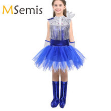 Kids Gilrs Jazz Dance Costumes Boy Hip-hop Dance Stage Street Dance Dress Shiny Sequins Rhinestone Tassels Tops with Skirt Socks(China)