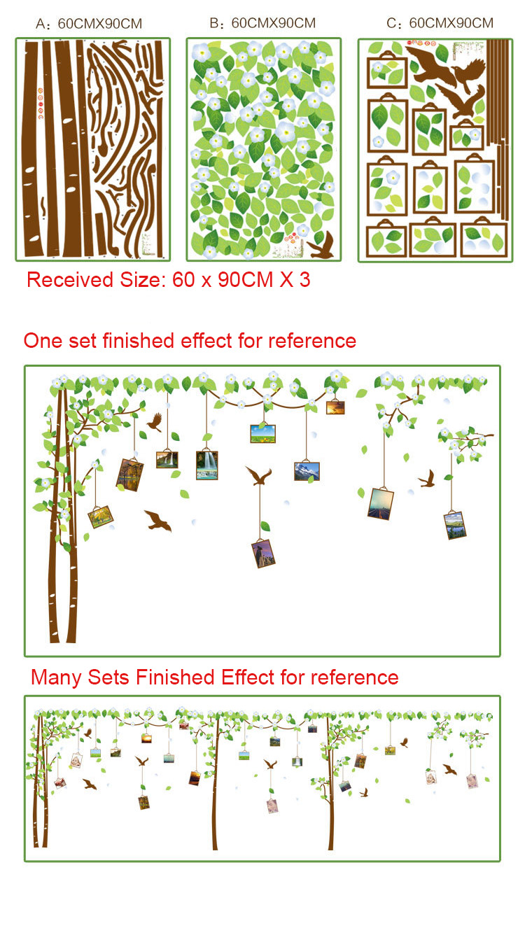 Ein Satz von 3 Speicher Baum Bilderrahmen Decor Wandaufkleber ...