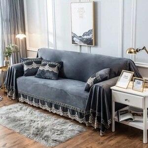 Image 2 - Europäischen Stil Sofa Abdeckung Für Wohnzimmer Grau Plüsch Hussen Stretch Möbel Schnitt Couch Abdeckung Luxus Stoff Spitze Decor