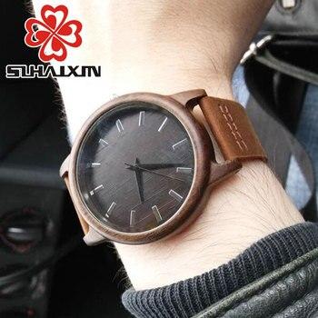 2018Men's horloge noir Vintage Saat montres en bois avec bracelet en cuir véritable Design homme Top marque montres à Quartz rondes avec boîte-cadeau