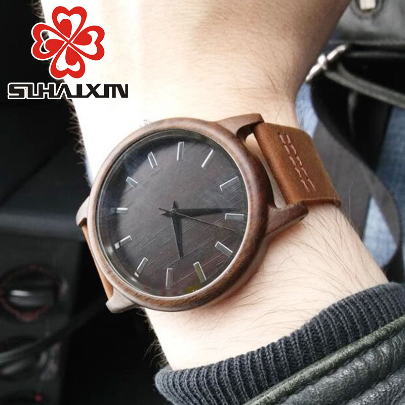2017Men s Clock Black Vintage Saat Wooden font b Watches b font With Real Leather Band