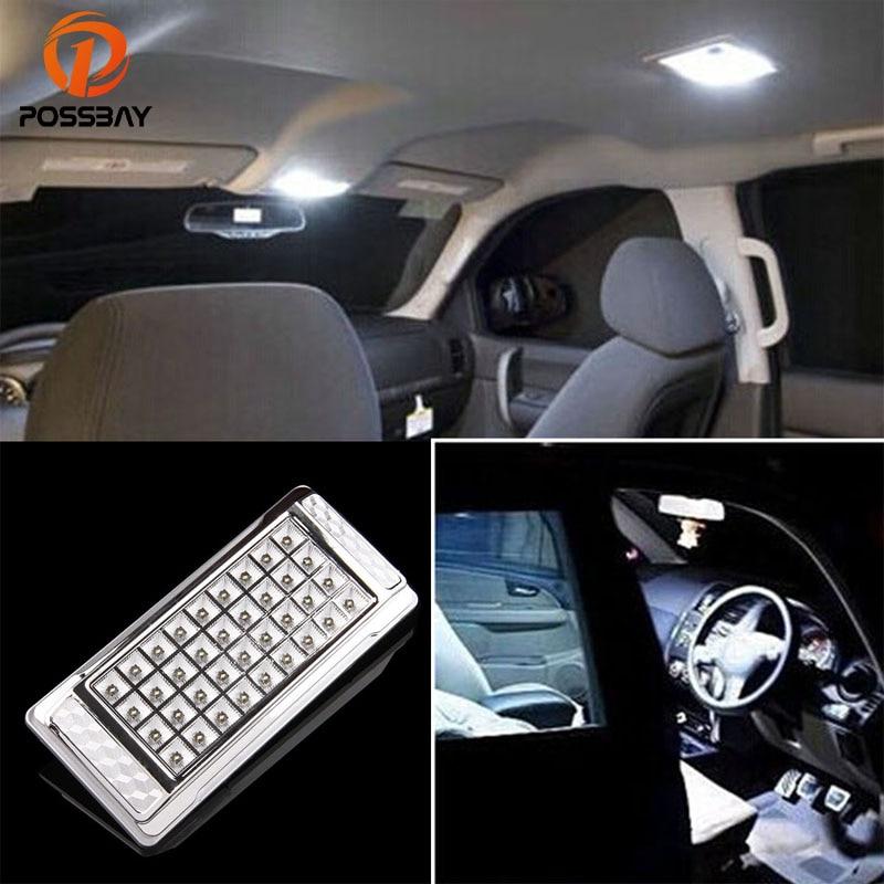 POSSBAY 36SMD Car Interior Roof LED Light Bulbs Ceiling