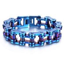 19mm Punk Biker Bracelet Men Motorcycle Link Chain Bike Bicycle Chain Bangles Classic Blue Stainless Steel Men's Bracelet недорого