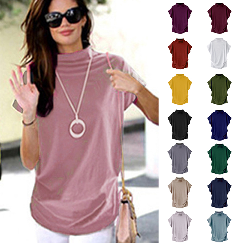2020 New Tops Women Casual Summer T Shirt Short Batwing Sleeve Loose Tops Solid Turtleneck Tee Shirt 2020 T-Shirts Femme Tees