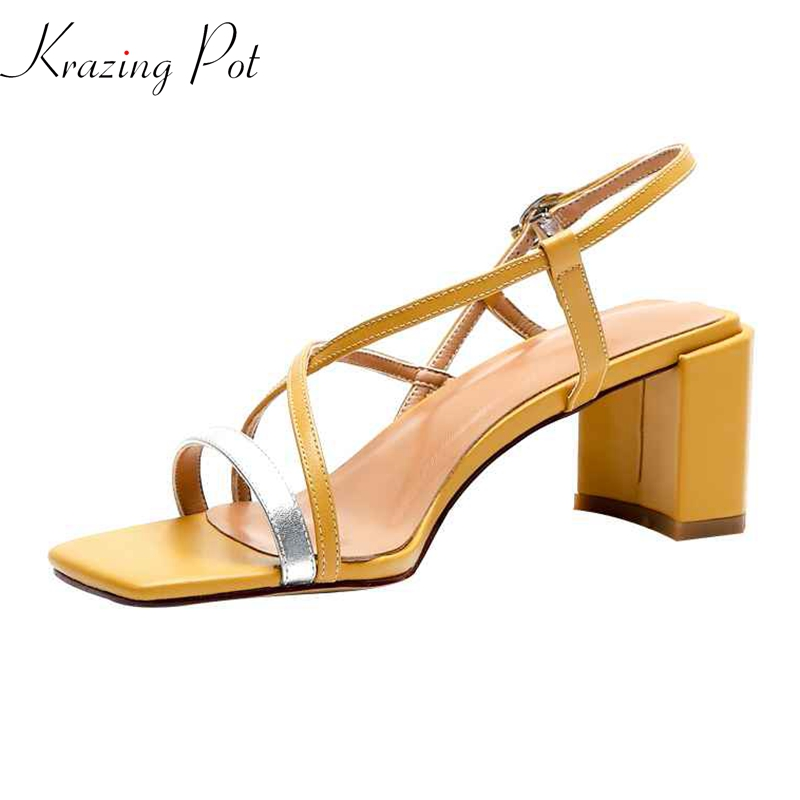 Krazing Pot genuine leather summer women fashion square high heels beach vacation princess mixed color buckle strap sandals l58Krazing Pot genuine leather summer women fashion square high heels beach vacation princess mixed color buckle strap sandals l58