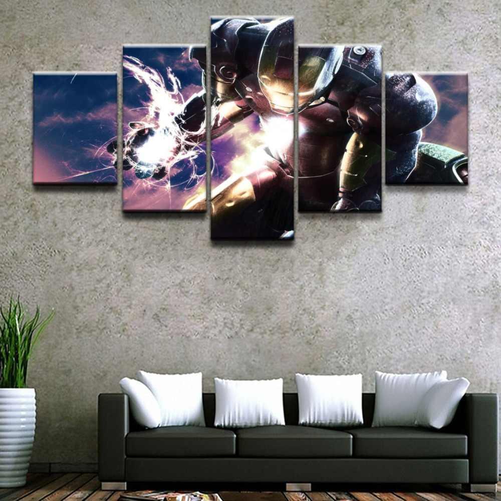 Tela HD de Impressão Pintura Home Decor Quadro Fotos 5 Peças Vingadores Quadrinhos Energ Fantasia Homem De Ferro Cartaz Da Parede Quarto Dos Miúdos arte