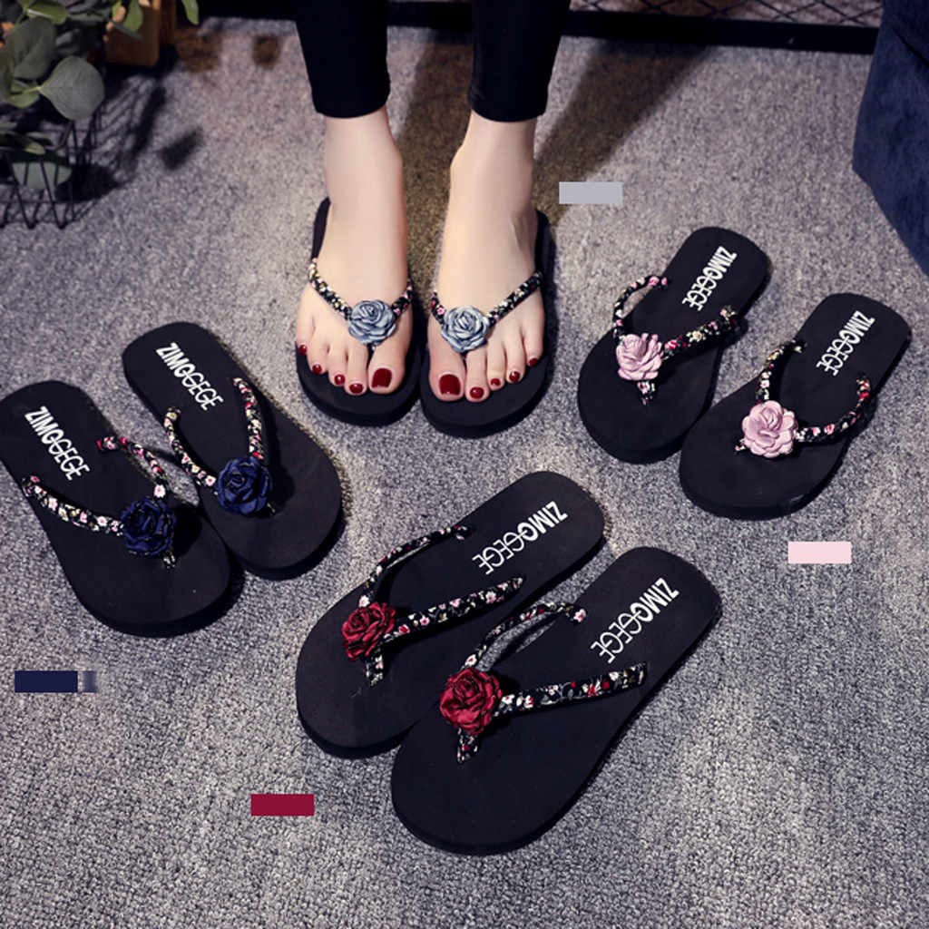 Women's Sandals Floral Wedges Non-slip Flat Heel Flip-flops Slippers Summer Casual Outdoor Fashion Ladies Soft Beach Shoes C#