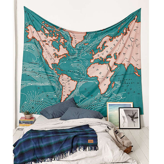 World Map Tapestry Blue Printed Wall Carpet Home Decoration Wall