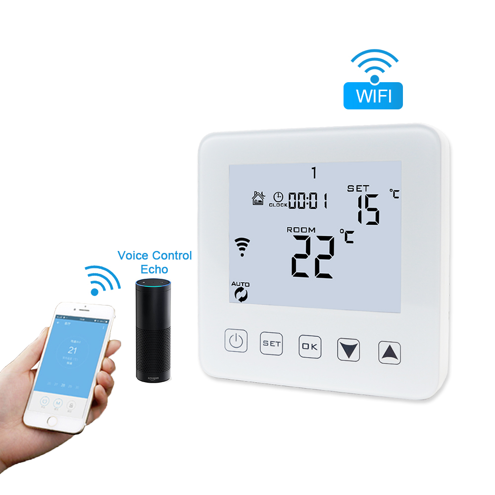 WIFI Digital Floor Heating Thermostat Alexa Voice Control AC 90 240V 16A Smart Electric Heating Temperature