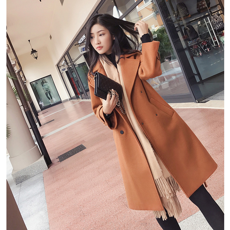 Mishow 2019 Autumn And Winter Woolen Coat Female Mid-Long New Korean Temperament Women's Popular Woolen Coat MX17D9636