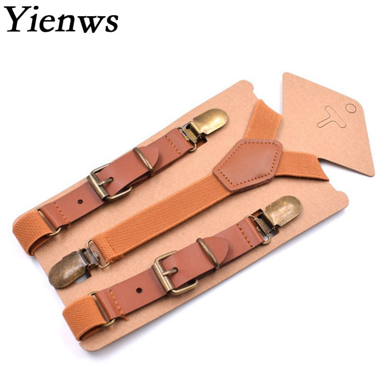 Yienws Brown Boys Suspenders Vintage Leather Braces For Children Button Pants Suspenders For Boy Wedding Party 75cm Bretels