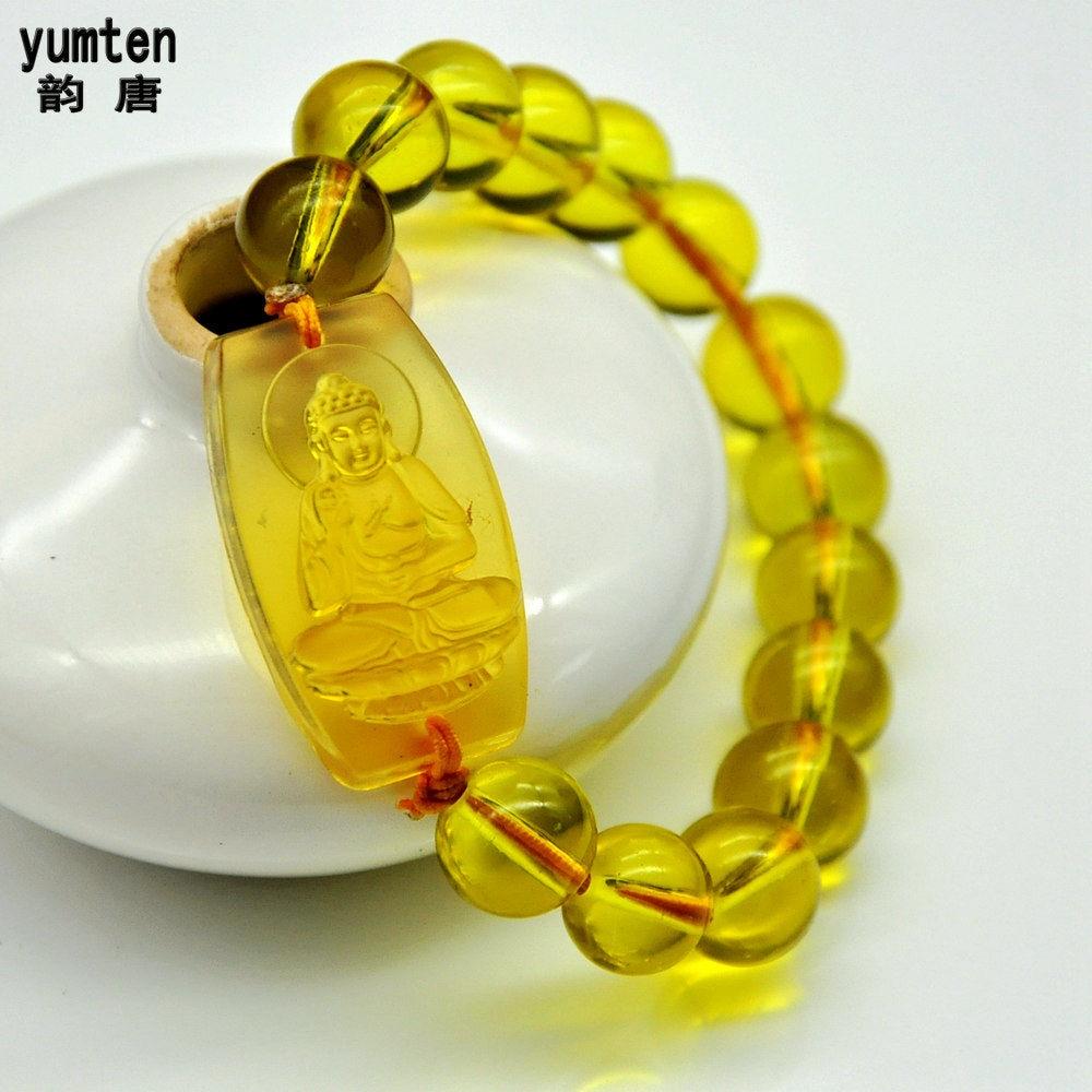 Yumten Yellow Crystal Patron Saint Men Jewelry Pulseiras Femininas Bracelet Femme Bransoletki Damskie Citrine Fine Bouddha Colar