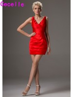 Simple Red Pleated Satin Mini Cocktail Dresses High School V Neck Tank Sleeveless Short Prom Dresses