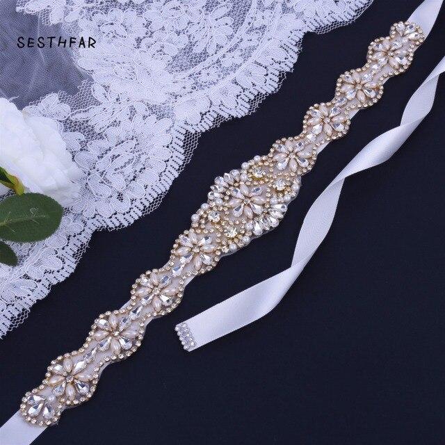 Handmade Crystal Wedding Belts Golden Rhinestone Wedding Dress Belt Formal Wedding Accessories Bridal Ribbon Sash Belt