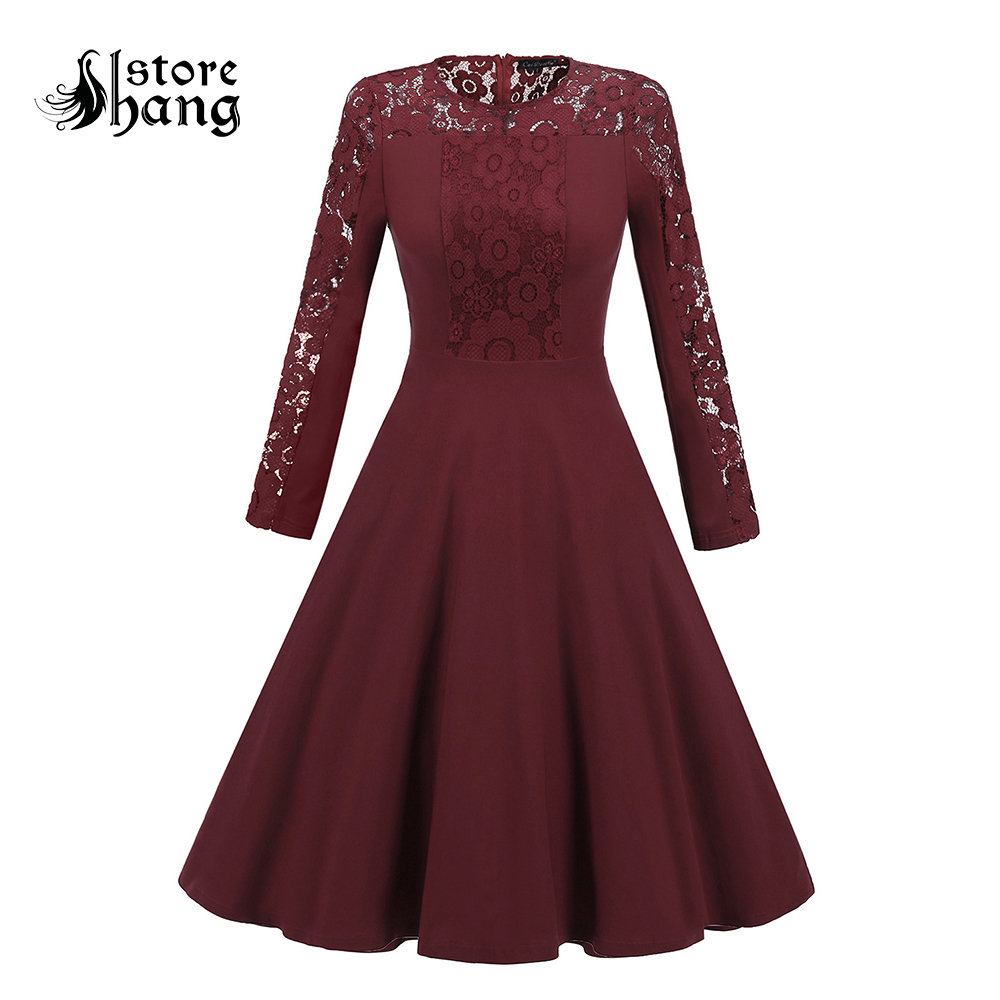 Vintage Burgundy Lace Round Neck Long Sleeve Pleated Midi Dress Elegant Women Solid Color Cocktail Wedding Guest Dress Autumn