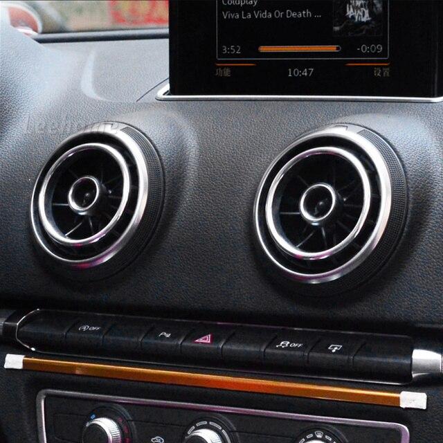 4 Unids/lote Styling Car Salida de Aire Acondicionado Círculo Decorativo Recorte Para AUDI A3 Sportback 3o Sedán Cabriolet S3 2013-2016