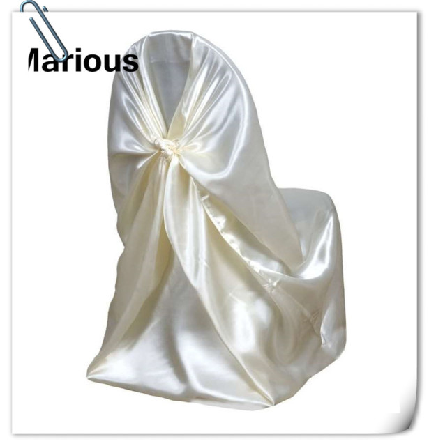 ivory 100pcs satin universal chair cover satin back self tie chair