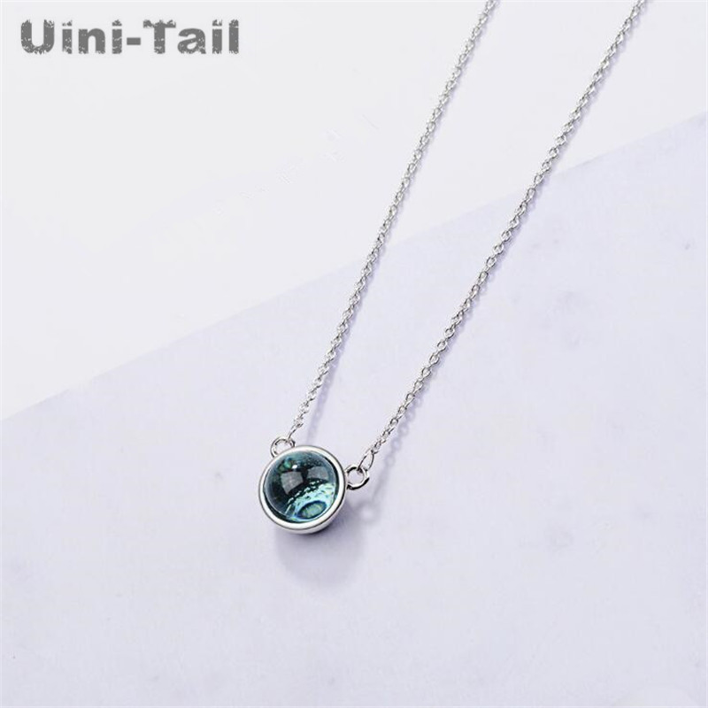 Detail Feedback Questions about Uini Tail hot new 925 sterling silver aurora  necklace female Korean small fresh blue gradient round temperament jewelry  ... 48fb935ffc0c