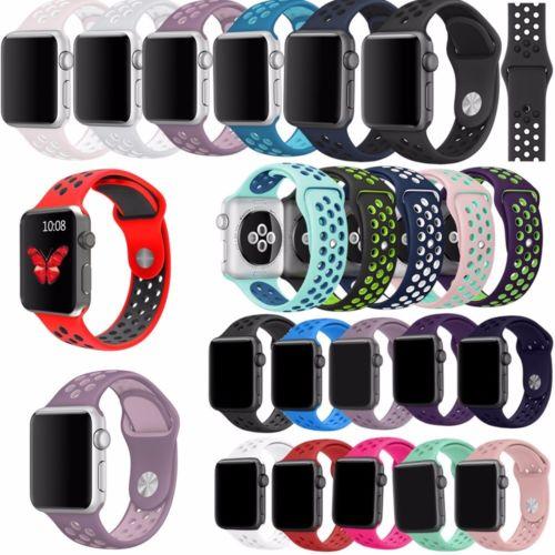 Replacement Flexible Sports Silicone Wrist Band Strap Bracelet Breathable Watchbands For Apple Watch 40 44 38 42mm Series 4 3 2