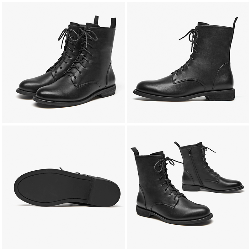 BeauToday Ankle Boots Women Genuine Leather Lace Up Side Zipper Top Quality Autumn Winter Lady Shoes Handmade 02012 - 6
