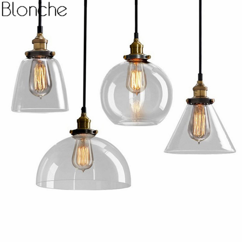 Modern Pendant Lights Nordic Vintage Glass Lamp Loft Industrial Decor for Kitchen Dining Room Hanging Lamp Retro Home Lighting loft nordic vintage industrial decor black hanglamp hanging design fixtures lamp pendant lights for dining room kitchen lighting