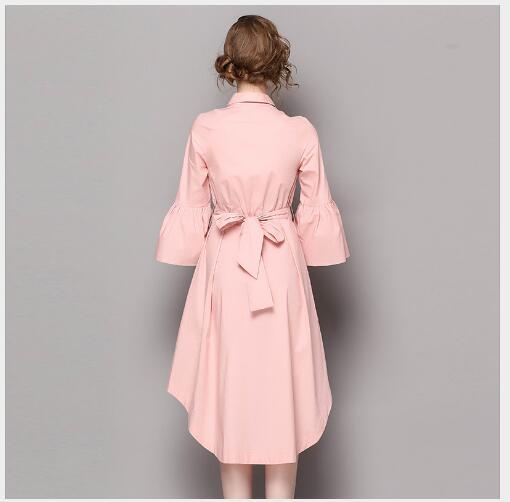 Broderie Élégant Douille Fusée Mode Pink Nouveau 2018 white Bas Robe Solide Asymétrique Femmes De Printemps Le Vers Mince Dame Tournent mnw0vN8