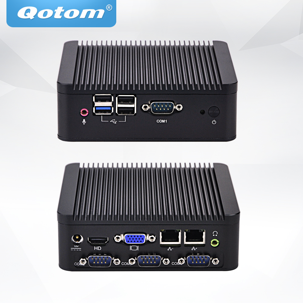 QOTOM Fanless Mini PC Q190P with j1900 Processor Running 24/7 Mini Industrial PC Quad Core 2.42 GHz купить недорого в Москве