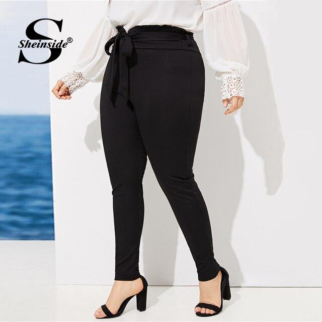 Sheinside Plus Size Elegant Pleated Waist Skinny Pants Women 2019 Spring Mid Waist Belted Trousers Ladies Casual Carrot Pants 3